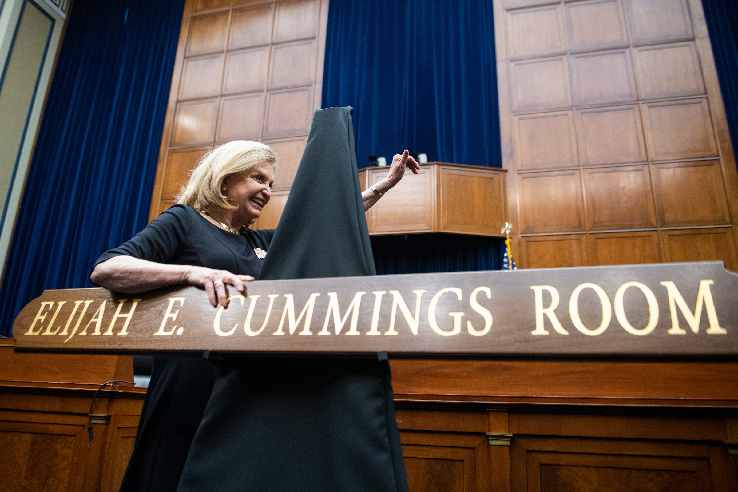 Chairwoman Carolyn B. Maloney, D-N.Y., attends an event to dedicate the Oversight and Reform Committee hearing room to the late Chairman Elijah E. Cummings, D-Md., in the Rayburn Building on Thursday, February 27, 2020.  (Tom Williams/CQ Roll Call)