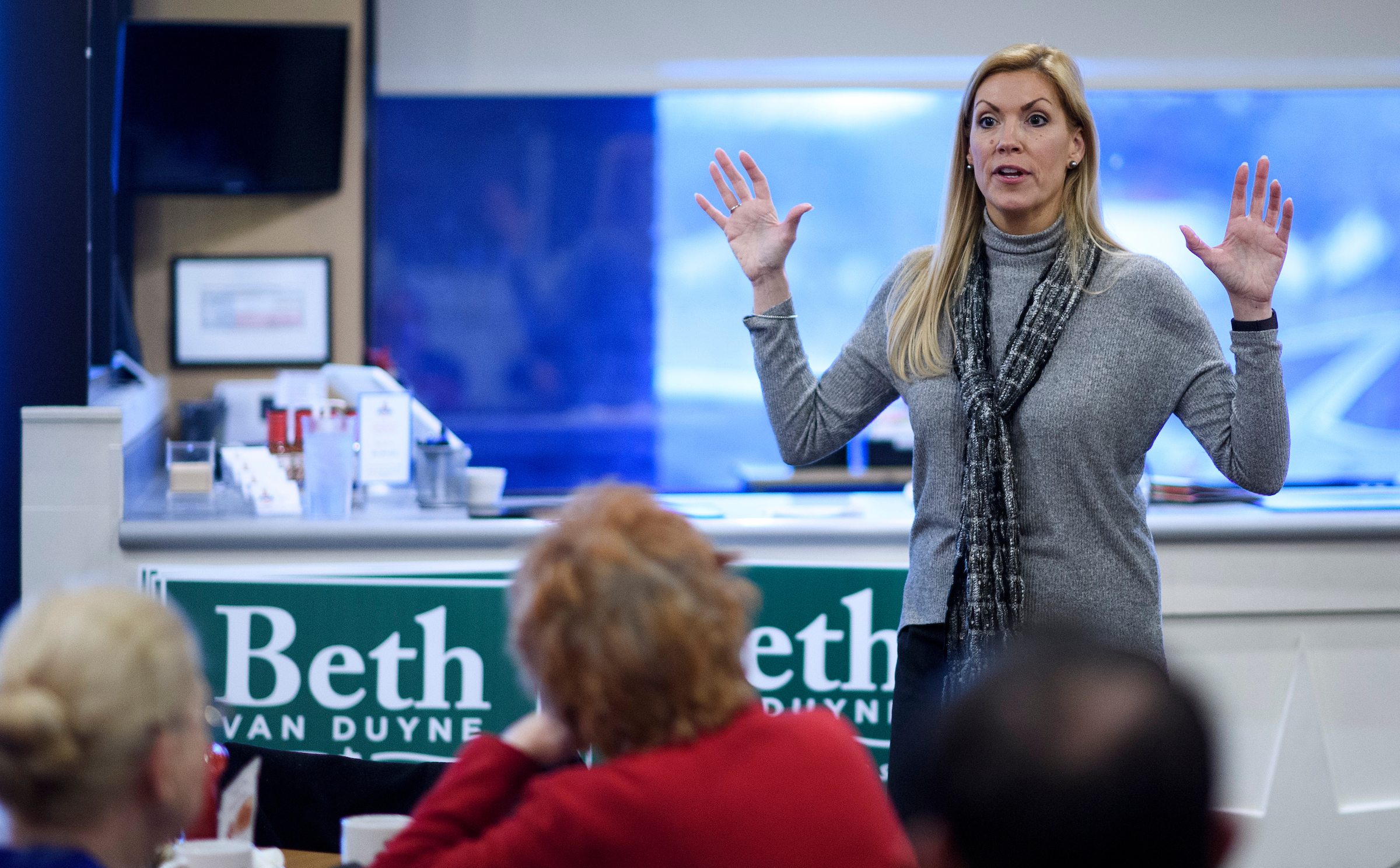 Republican Beth Van Duyne, here campaigning in Irving, Texas, in February, is in a hotly contested race for the open 24th District. (Bill Clark/CQ Roll Call file photo)