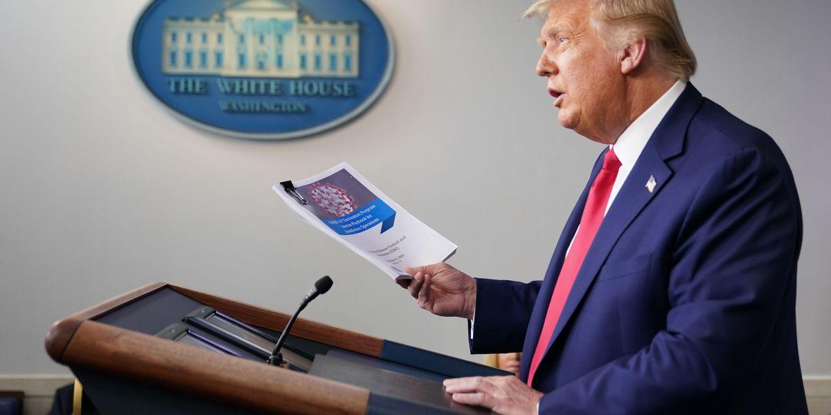 Trump contradicts CDC, pledging 100 million coronavirus vaccines in 2020