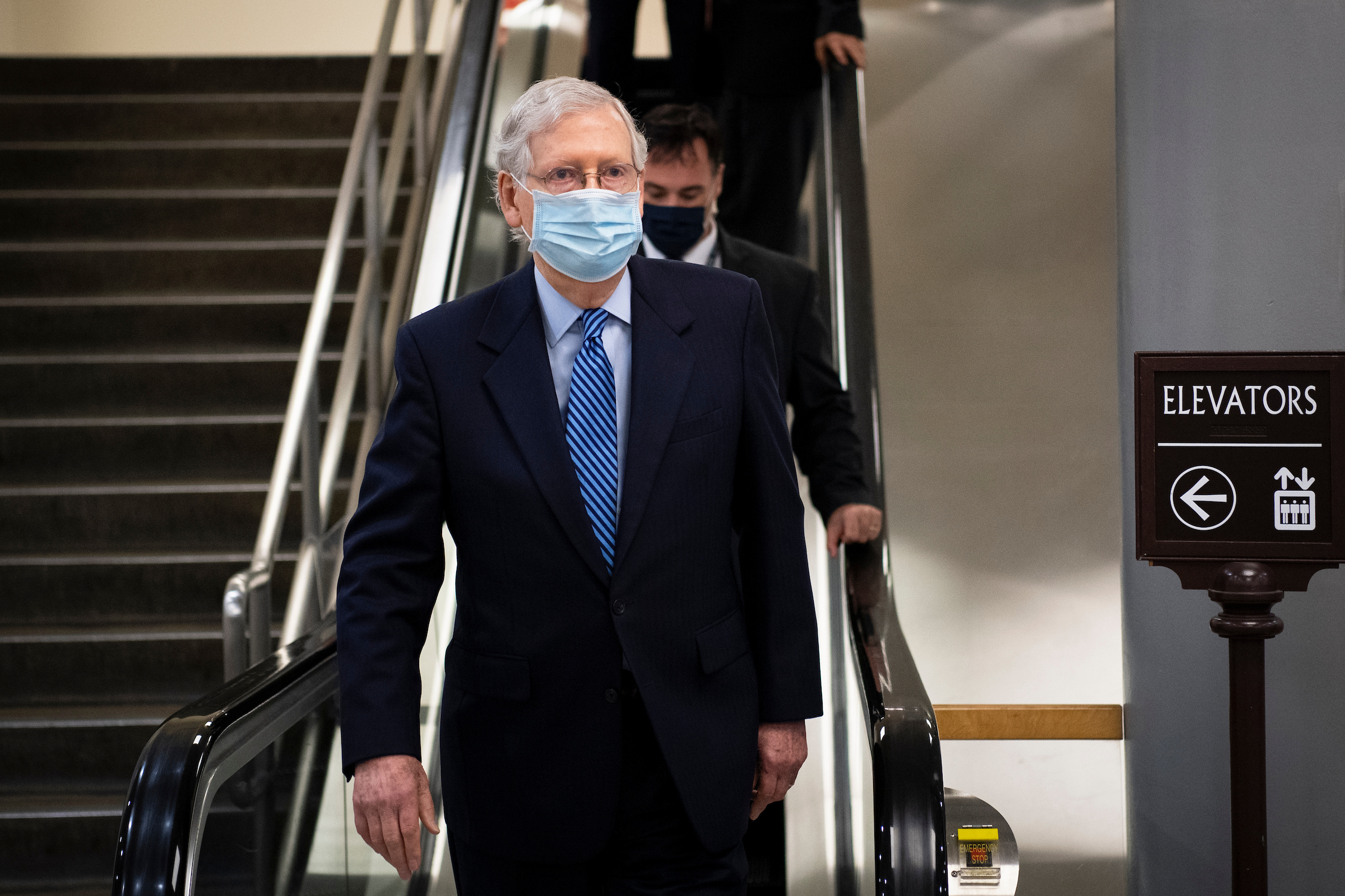 Senator McConnell with a mask on