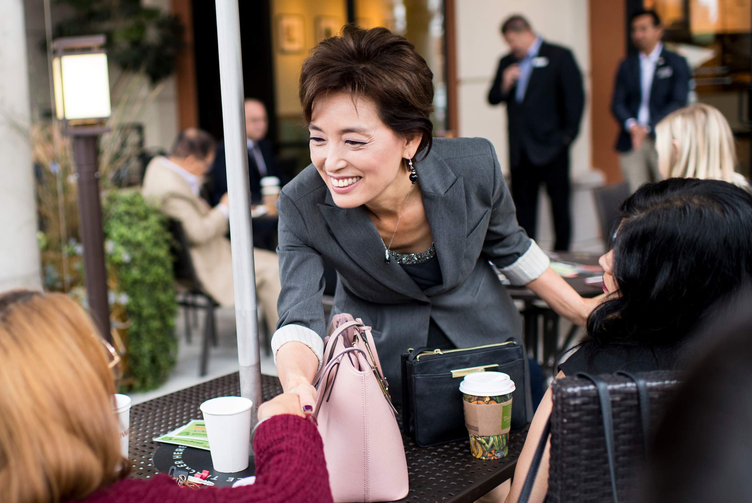 California Rep.-elect Young Kim, here campaigning in Brea, Calif., in 2018, says the level of behind-the-scenes support for GOP female candidates was more palpable this year because the party made it a higher priority. (Bill Clark/CQ Roll Call file photo)