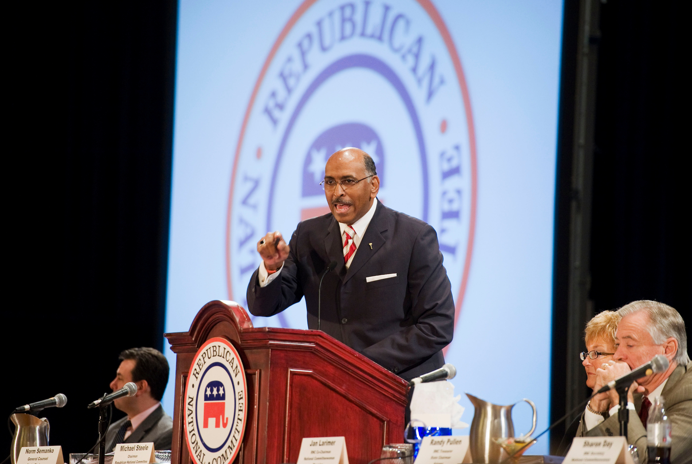 Then-Republican National Committee Chair Michael Steele speaks to party activists in 2011. (Tom Williams/Roll Call file photo)