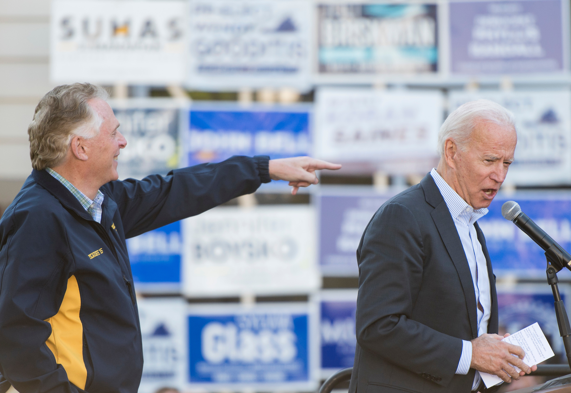 Biden tests campaign messaging in Virginia governor's race